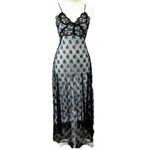 Vintage Nightgown Black Lace